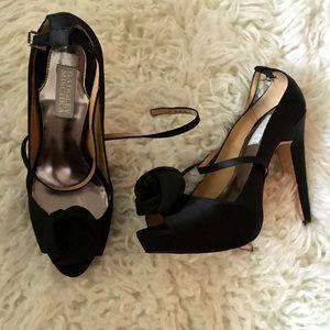 Badgley Mischka Black Evening Satin Peep Toe Heels